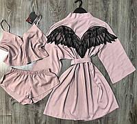 Хлопковый набор домашней одежды халат крылья ангела+пижама(топ и шорты).