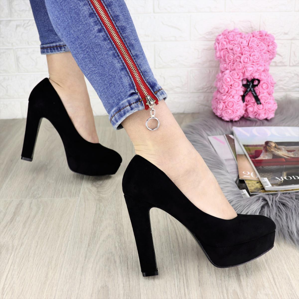 Туфли женские на каблуке черные Chicago 1179
