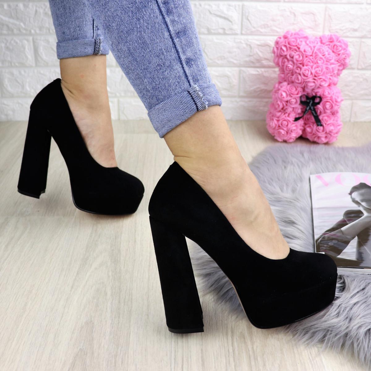 Туфли женские на каблуке черные Iron 1228