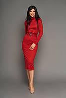 Нарядное женское платье миди, р. от 42 до 50, красное, эко замш