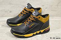 Мужские кожаные зимние кроссовки Adidas  (Реплика) (Код:  К 45 рыж  ) ►Размеры [40,41,42,43,44,45], фото 1