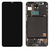 Дисплей для Samsung Galaxy A40 (2019) A405, модуль (экран) черный, с рамкой, оригинал #GH82-19672A