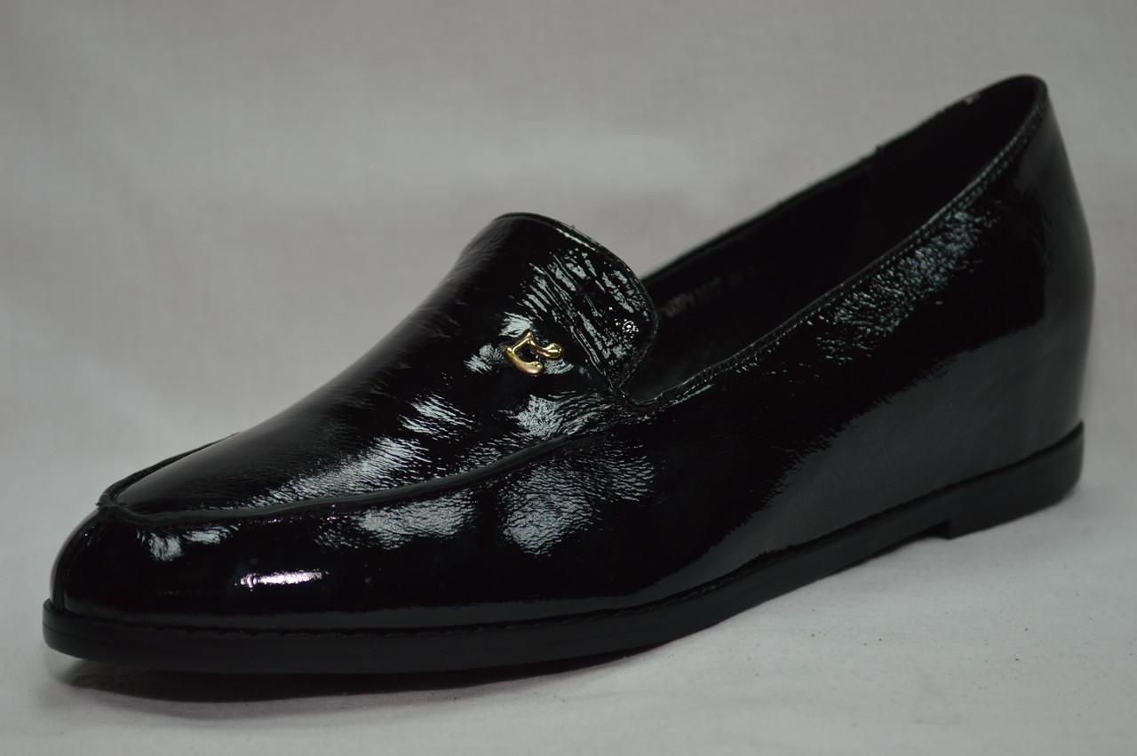 Черные  лаковые туфли Erisses на  скрытой танкетке,большие размеры.