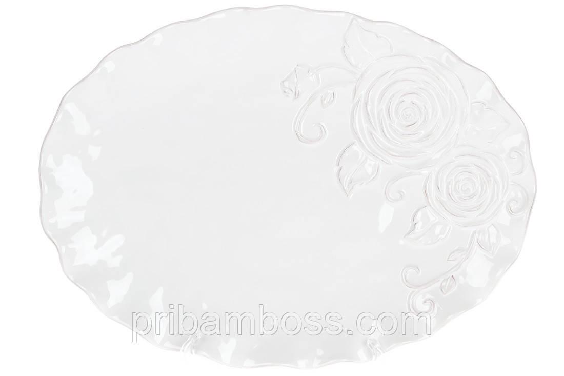Блюдо керамическое сервировочное овальное Аэлита, цвет - белый, 36см
