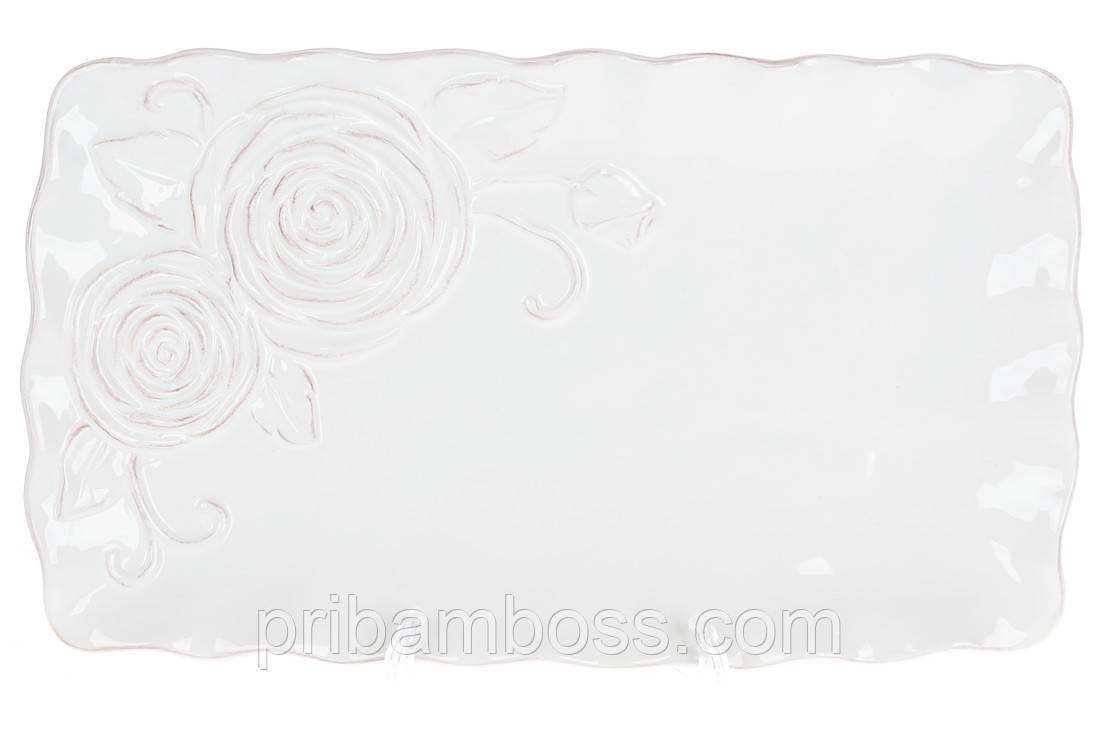 Блюдо керамическое сервировочное прямоугольное Аэлита, цвет - белый, 32см