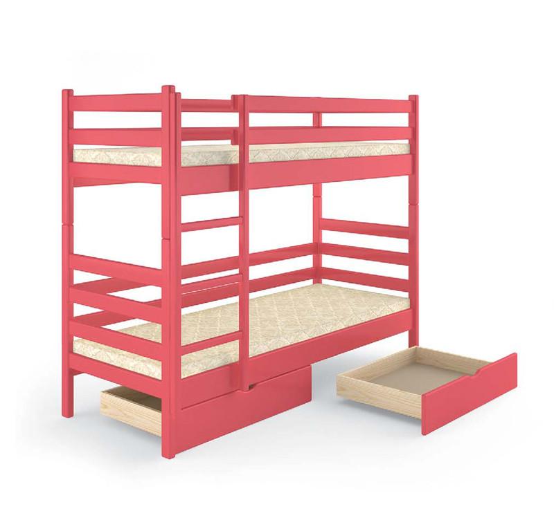 Кровать деревянная двухъярусная 90х200 Соня Mebigrand сосна коралловый (S1070-R)