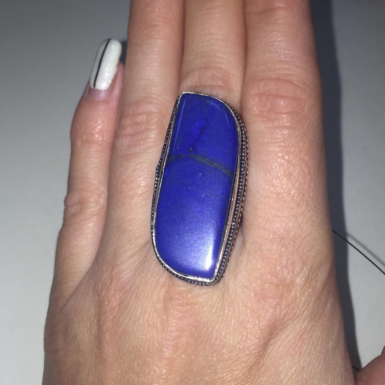 Лазурит кольцо с натуральным камнем лазурит кольцо с лазуритом в серебре. Размер 18 Индия