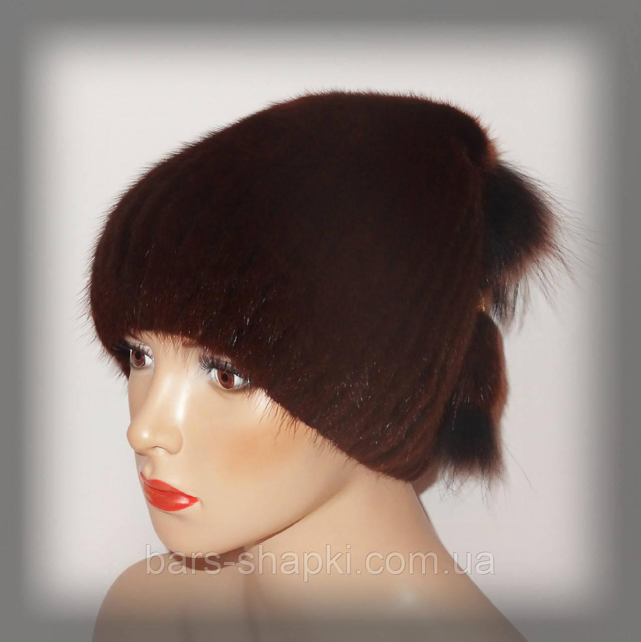 Меховая шапка из ондатры женская (рыжая)