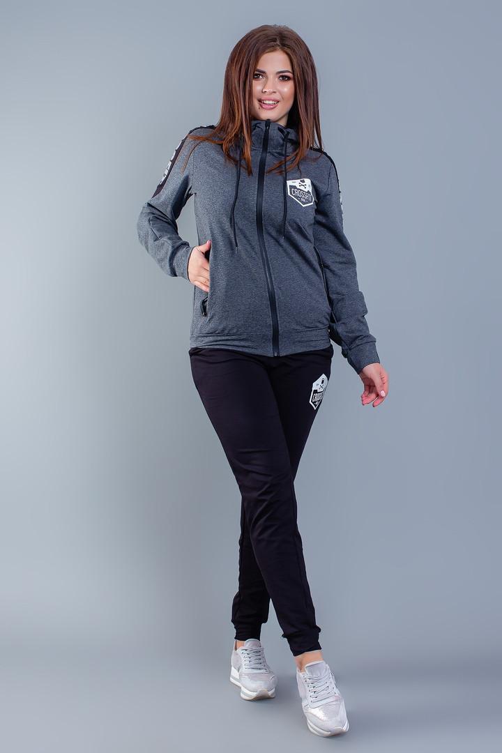 """Женский трикотажный спортивный костюм """"CROSSfit"""" с капюшоном (большие размеры)"""