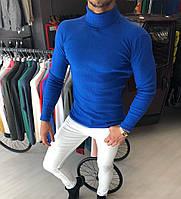 Стильный мужской гольф-водолазка синий