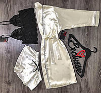 Халат с кантом+пижама-комплект домашней одежды.