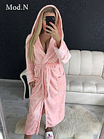 Женский  плюшевый халат теплый длинный узор, фото 1