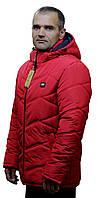 Мужская стеганная зимняя красная  куртка с капюшоном в 48-62 размерах в наличии