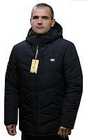 Мужская стеганная зимняя черная  куртка с капюшоном в 48-62 размерах в наличии