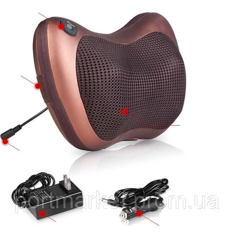 Роликовый массажер для спины и шеи MASSAGE PILLOW 8028 Массажная подушка,в автомобиль