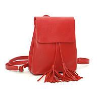 Кожаный красный женский рюкзак