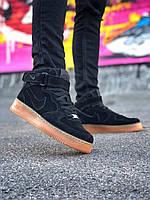 Мужские кроссовки Nike Air Force 1 Black (на меху) \ Найк Аир Форс Черные \ Чоловічі кросівки Найк Аір Форс