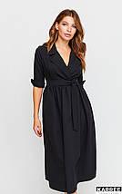 Осеннее платье до колен с имитацией запаха рукав 3/4 с  манжетами цвет черный, фото 2