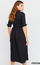 Осеннее платье до колен с имитацией запаха рукав 3/4 с  манжетами цвет черный, фото 3