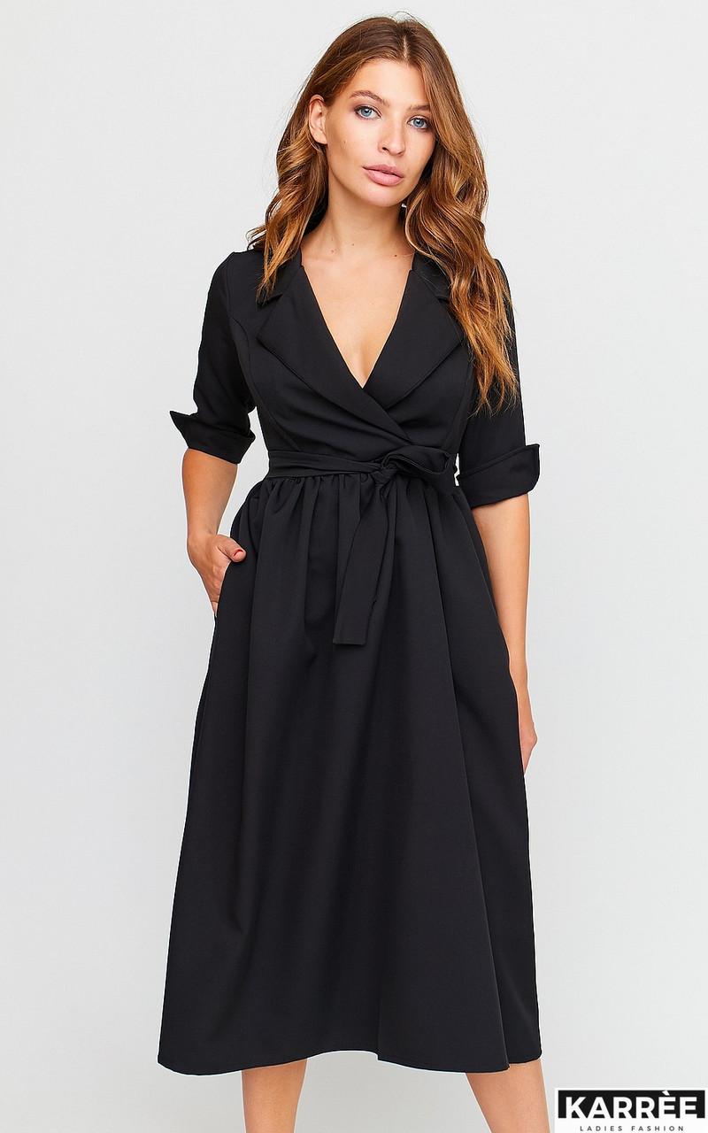 Осеннее платье до колен с имитацией запаха рукав 3/4 с  манжетами цвет черный