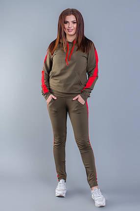 """Женский трикотажный спортивный костюм """"Pax"""" с контрастными вставками и капюшоном (большие размеры), фото 2"""