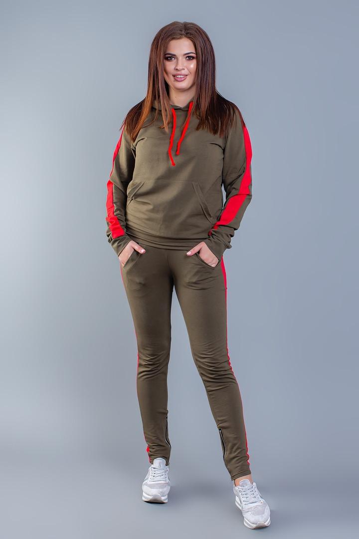 """Женский трикотажный спортивный костюм """"Pax"""" с контрастными вставками и капюшоном (большие размеры)"""