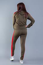 """Женский трикотажный спортивный костюм """"Pax"""" с контрастными вставками и капюшоном (большие размеры), фото 3"""