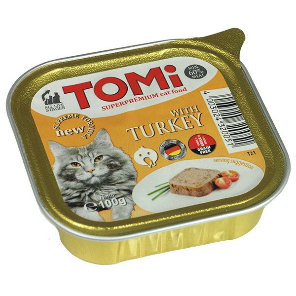 Консервы для кошек TOMi turkey паштет с индейкой 100 г