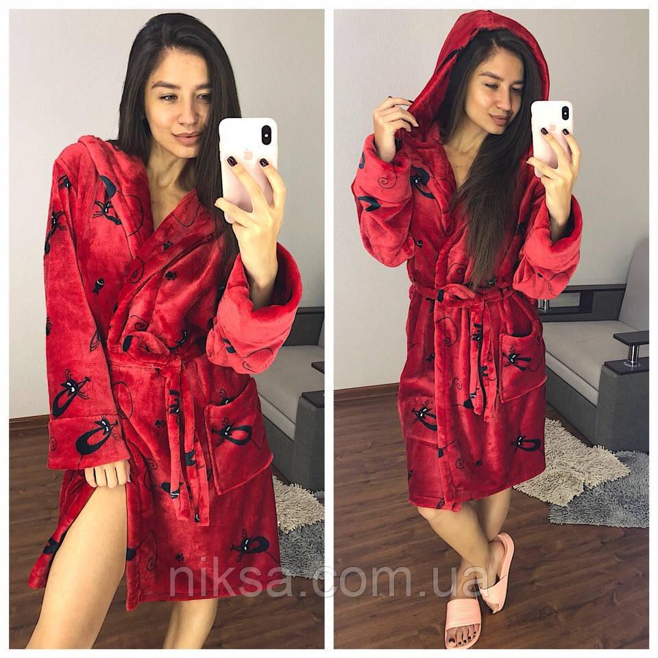Женский плюшевый халат теплый короткий красный