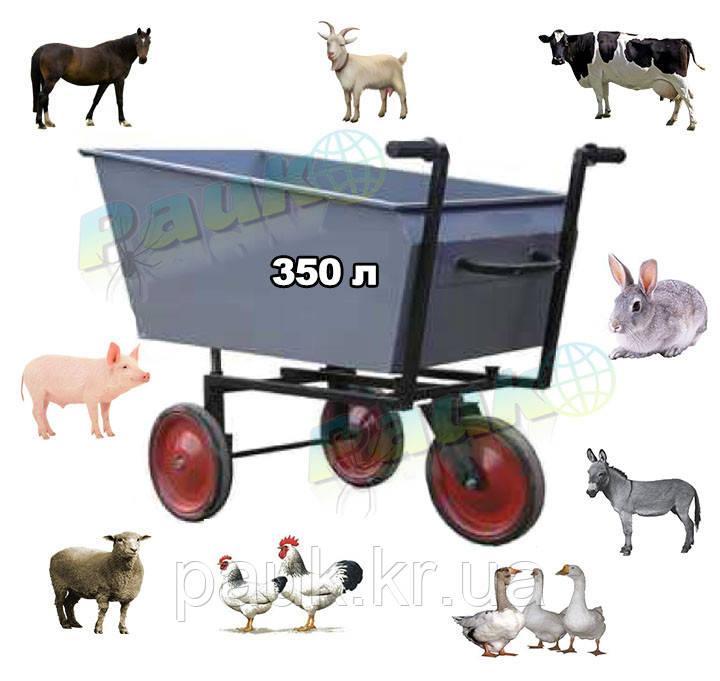 Візок для сухих кормів-350 л(самоскид), тележка для корма