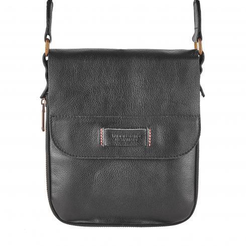 Мужская сумка из натуральной кожи Vittorio_Safino, черная