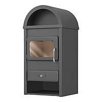Стальной камин на дровах ACKERMAN Р1К 10.9 кВт квадратный (верх полукруг,дверка стекло) черный