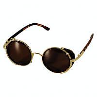 Очки солнцезащитные в круглой оправе с боковыми шторками (в стиле стимпанк)