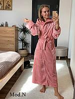 Женский  плюшевый халат теплый длинный Париж, фото 1