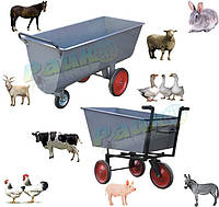Металеві візки для сухих кормів. Сільськогосподарські візки для годування тварин.