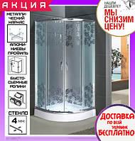 Душевая кабина полукруглая 90х90 см с поддоном Santeh 9001 FL Flowers двери раздвижные
