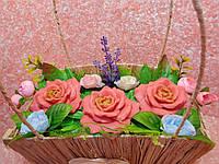"""Кошик """"Букет троянд"""" варіант 3, фото 1"""