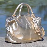 Стильная золотая кожаная женская сумка