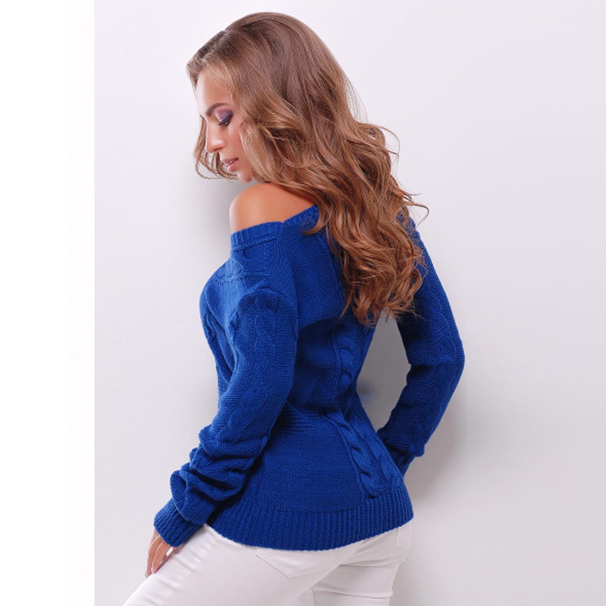 """Светр стильний синій в'язаний з косами """"Емілі"""""""