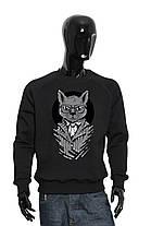 """Свитшот мужской красный черный """"Business Cat"""". трехнитка с начесом, фото 2"""