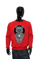 """Свитшот мужской красный черный """"Business Cat"""". трехнитка с начесом, фото 3"""