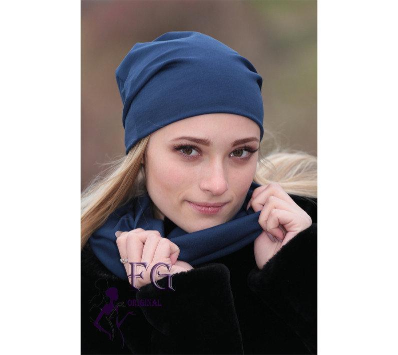 Набор шапка женская трикотажная + шарф