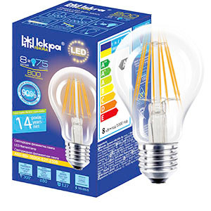 Лампа светодиодная декоративная филаментов Классик LED Bulb А60, 8Вт, ТЕПЛО БЕЛАЯ, 220B, (E27)