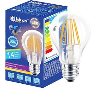 Лампа світлодіодна декоративна ФІЛАМЕНТ Класік LED Bulb А60, 8Вт, ТЕПЛО БІЛА, 220B, (E27)