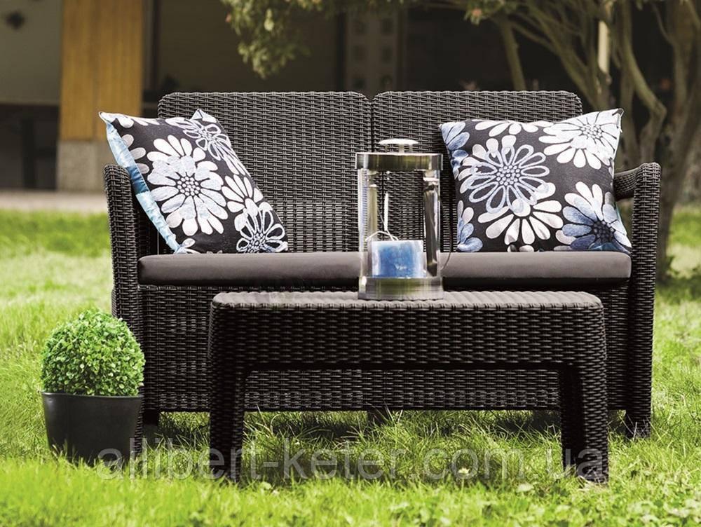 Набор садовой мебели Tarifa Sofa With Table Brown ( коричневый ) из искусственного ротанга