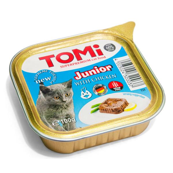 Консервы для котят TOMi junior паштет с курицей 100 г