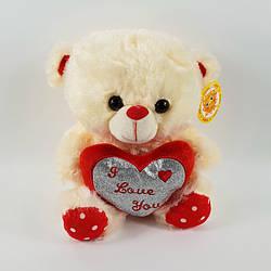 Ведмідь плюшевий з серцем I love you музичний 25 см