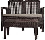 Набор садовой мебели Tarifa Sofa With Table Brown ( коричневый ) из искусственного ротанга (Allibert by Keter), фото 2