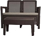 Набор садовой мебели Tarifa Sofa With Table Brown ( коричневый ) из искусственного ротанга (Allibert by Keter), фото 7