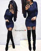 Платье женское модное облегающее с люрексом и камнями мини Smmk3754